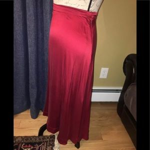 H&M Holiday Red Silk Midi Skirt Size 6